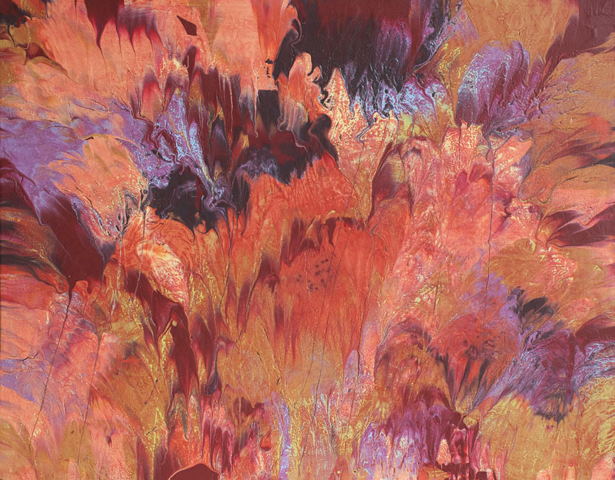 Flower painting warm colorful red orange rust summer floral