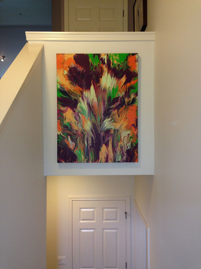 """Spring"" painting in stairwell"