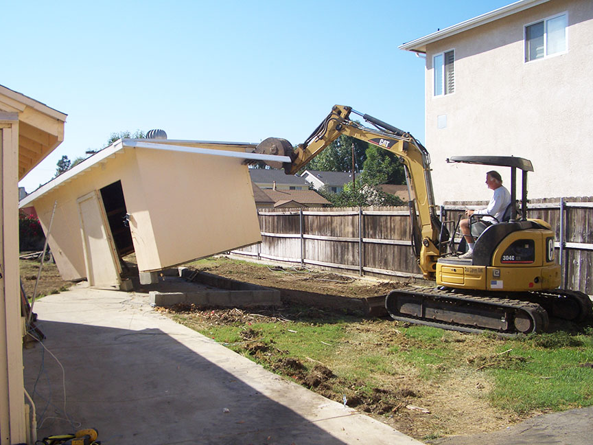 Backyard demolition in preparation for studio