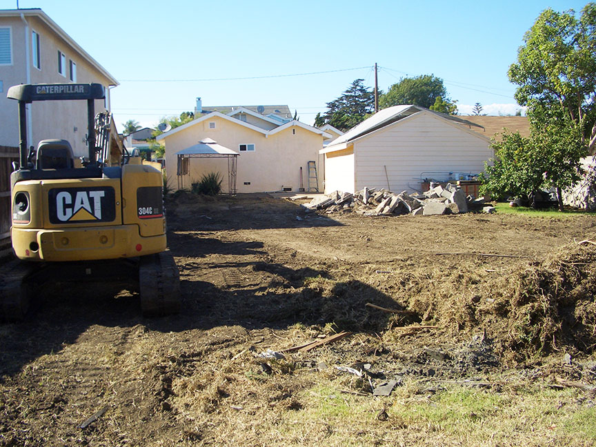 Backyard after demolition