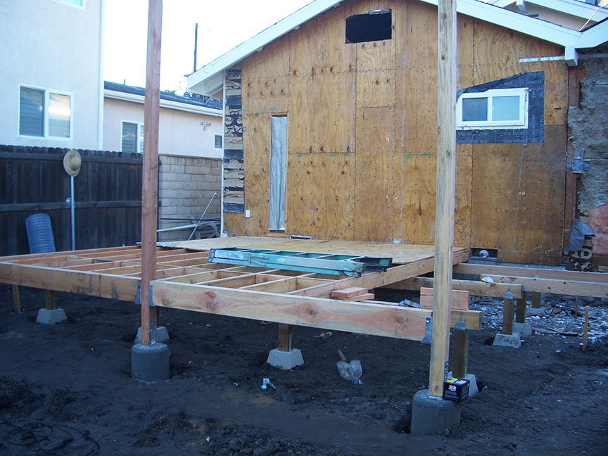 Construction of art studio and deck
