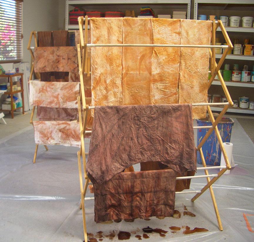 Ecoprint leaf print on silk