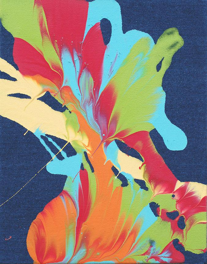 Acrylic latex paint on denim