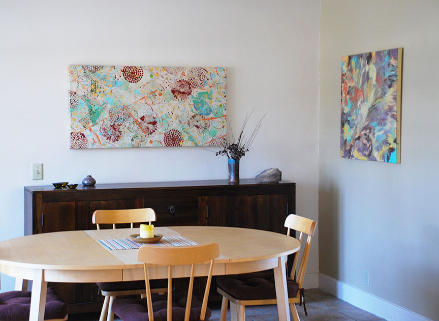 """One in Spirit"" abstract painting hanging in dining room"