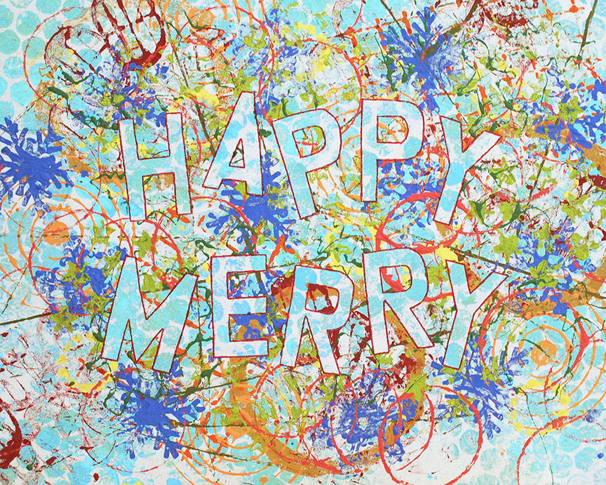 Happy Merry holiday abstract painting