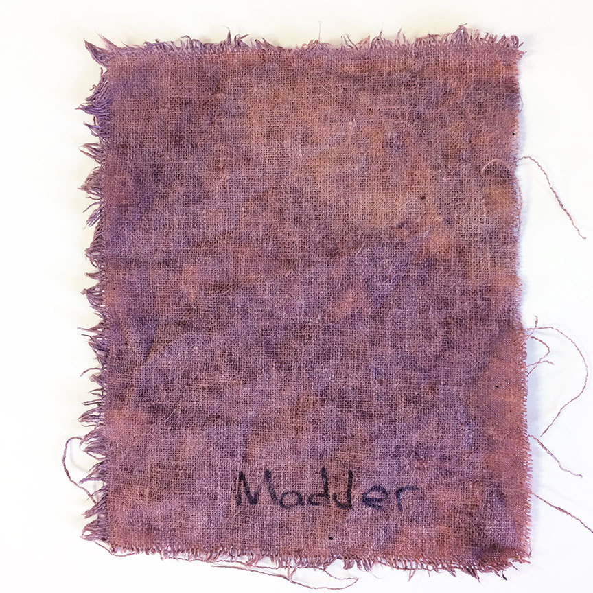 Madder dye on hemp fabric